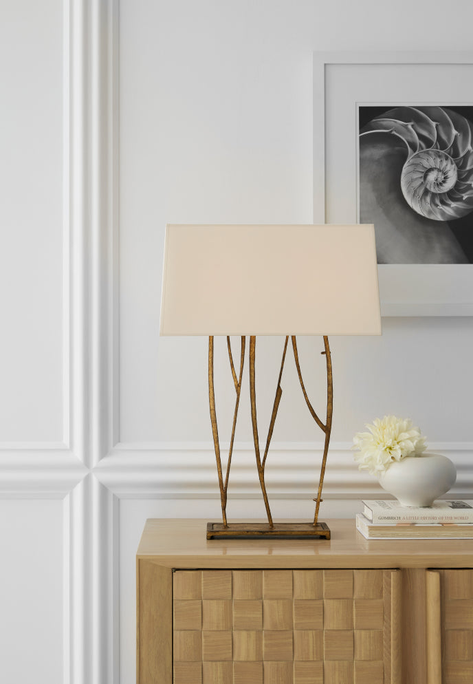 Bianca Iron Table light on table in house setting
