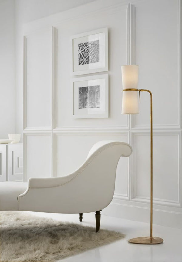 Clarkson floor lamp with white chaise