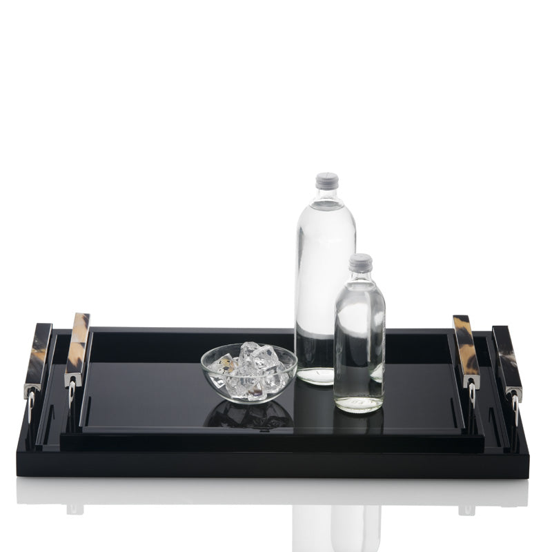 Arca Lacquered Horn Tray in Black with water and ice