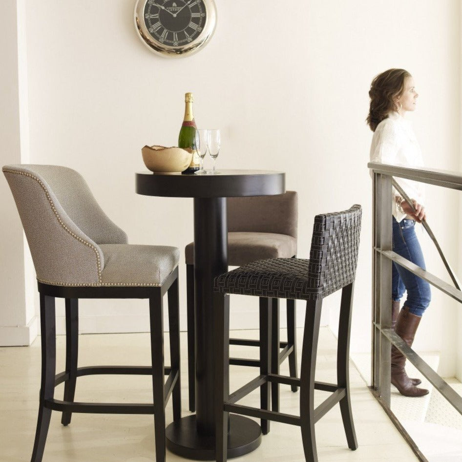 Deco Curved Back Bar Stool in house with table and clock