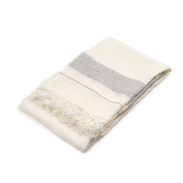 Oyster Belgian Throw Folded