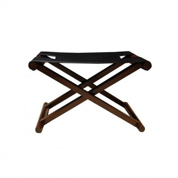 Black Leather Shikari Stool