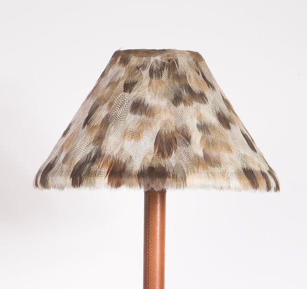 Goose Feather Shade with Leather Stick Lamp