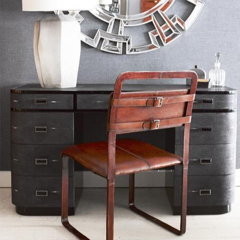 Buckle Chair Havana with desk mirror and lamp