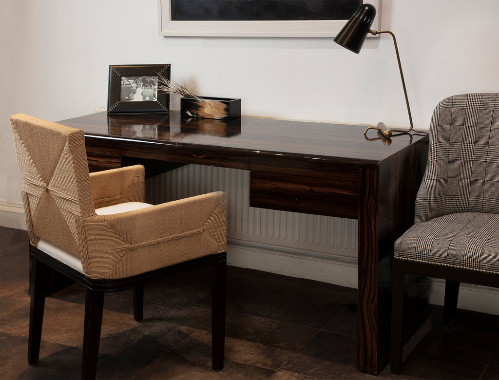 Metro Ebony desk with Maasai mara chair and Art Deco chair