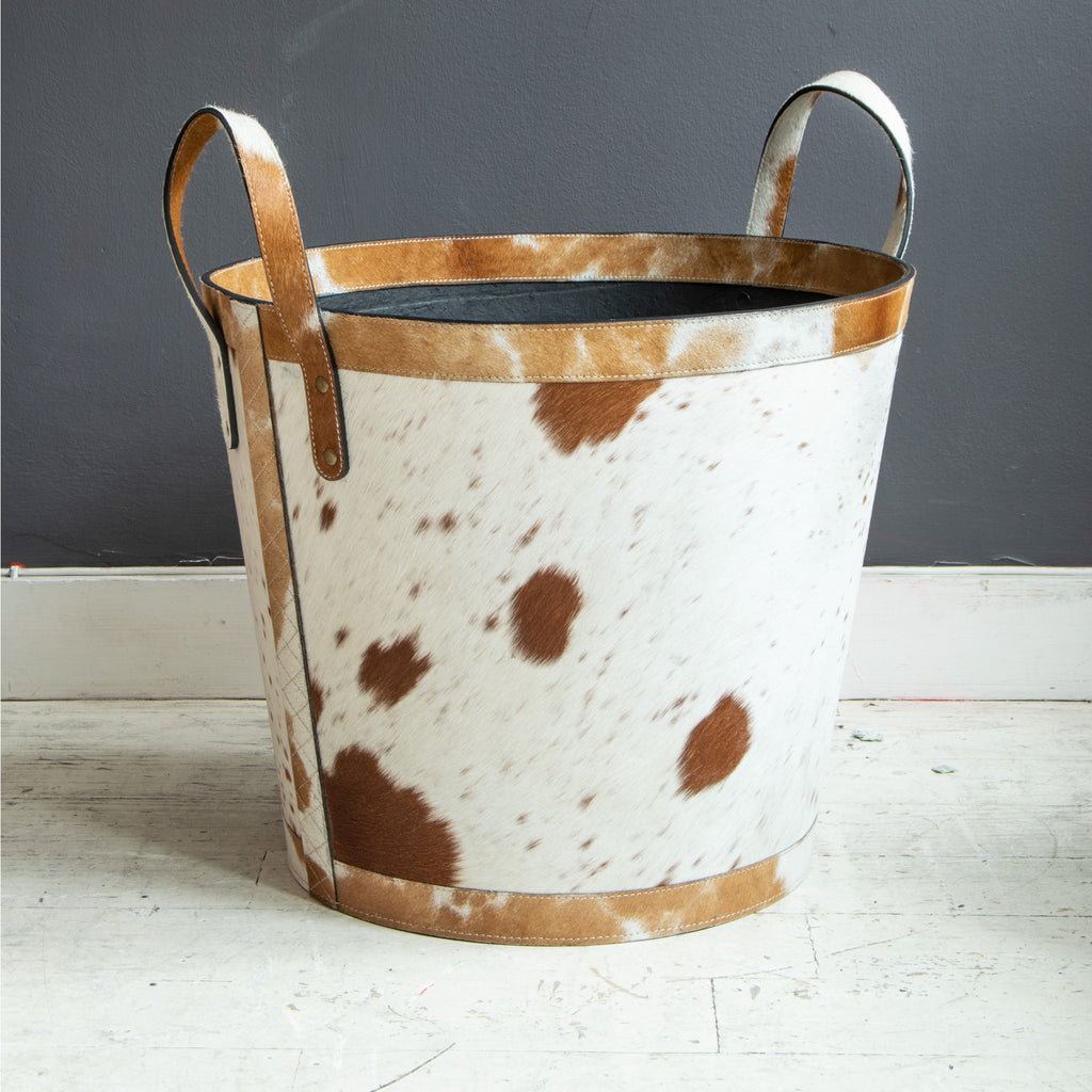 Cow Hide Log Basket, small print