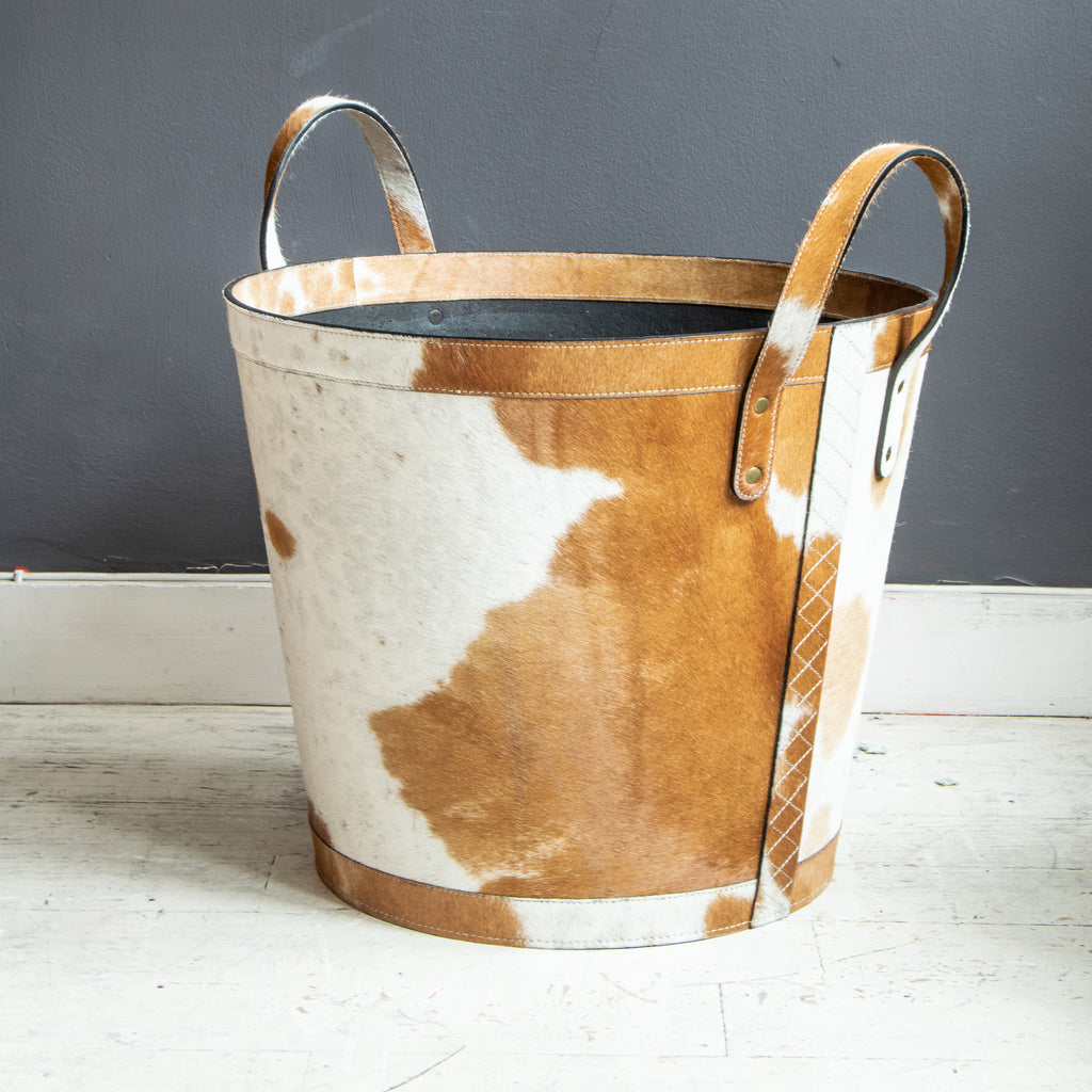 Cow Hide Log Basket, Large print
