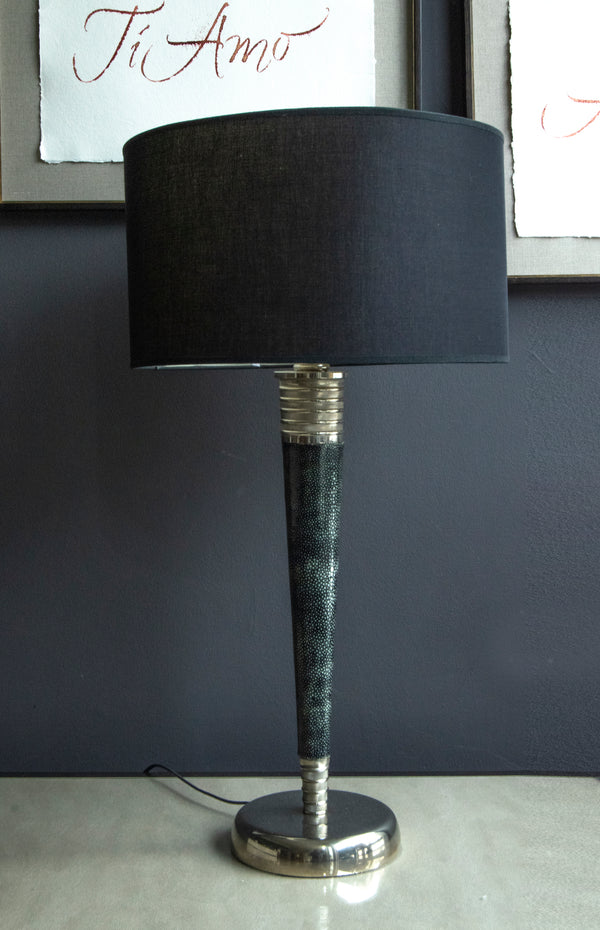 Deco Real Shagreen lamp with Nickle base