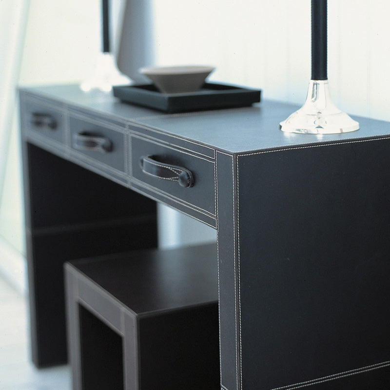 Havana Black Leather Console with stool and decor