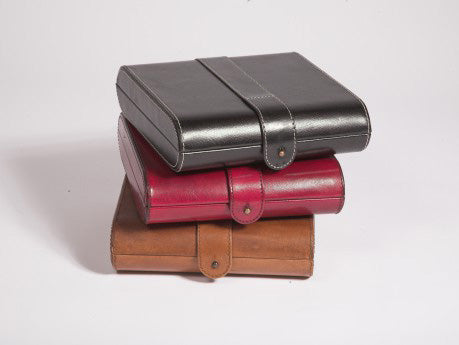Stack of Havana Leather Jewellery boxes