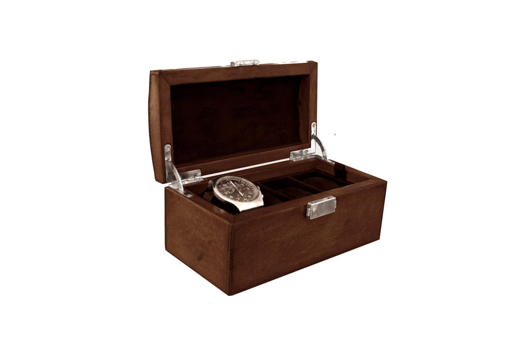 Havana Leather Watch Box Antique Tan With Watch