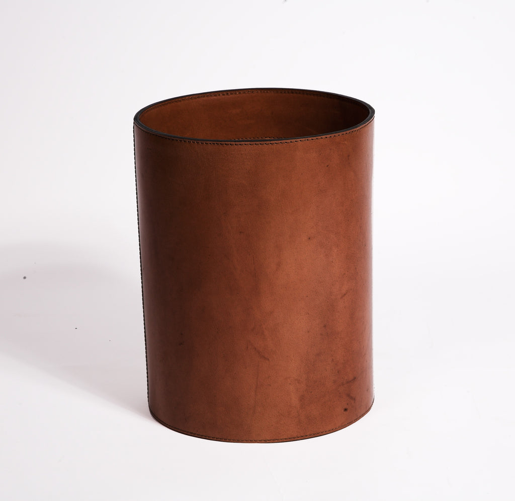 Brown Leather Havana Antique Bin