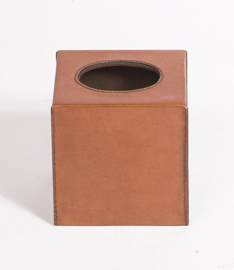 Havana Antique Tan Leather Tissue Box
