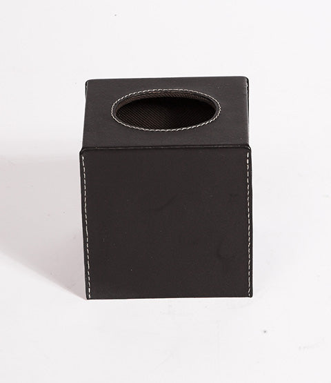 Black Leather Havana Tissue Box