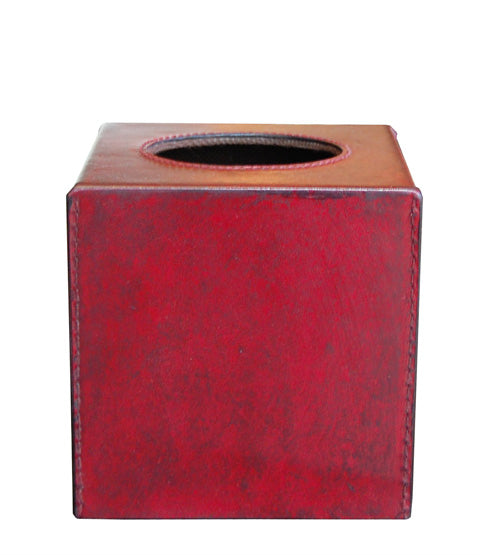 Havana Red Leather Tissue Box