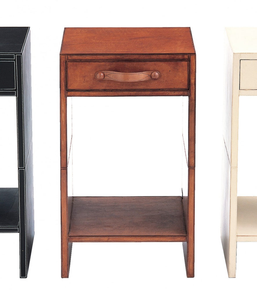 Havana Side Table Leather Brown