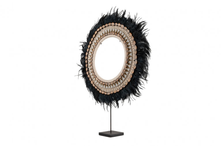 Juju Black Feather on Stand from Angle