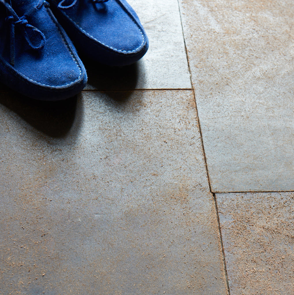 Leather Flooring with Blue Shoes