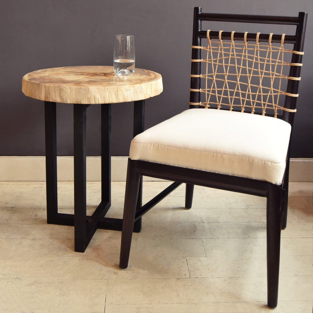 Maasai Mara Occasional Dining Chair with table and glass