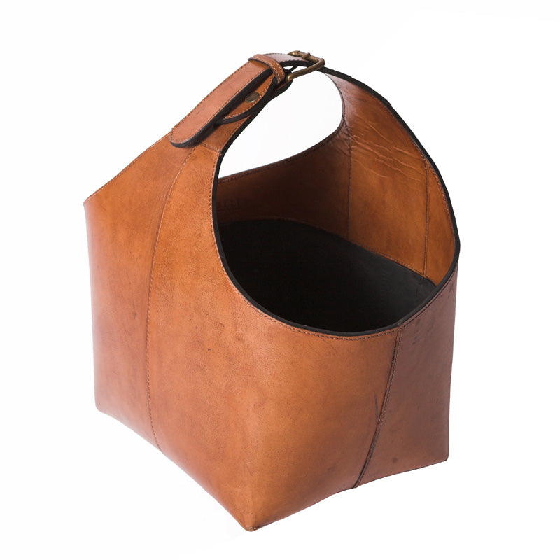 Havana Tan Leather Magazine Basket