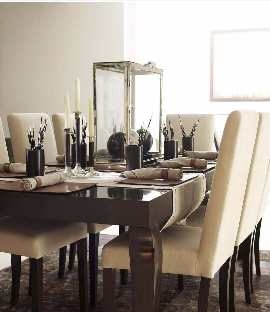 Mahoot Dining Table with Decor and Mahoot chairs