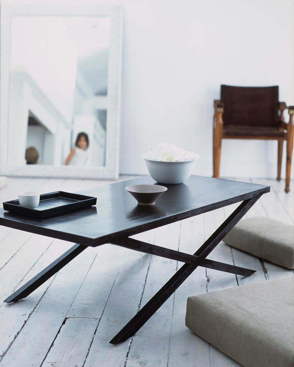 Metro Cross Leg Coffee table with bowls and floor cushion