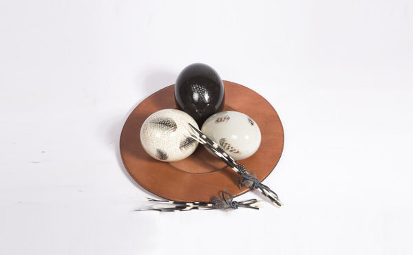 Hand Painted Ostrich Eggs on Leather plate