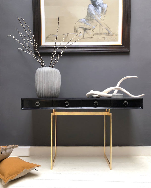 Shikari Parchment Console Table in house with Decor