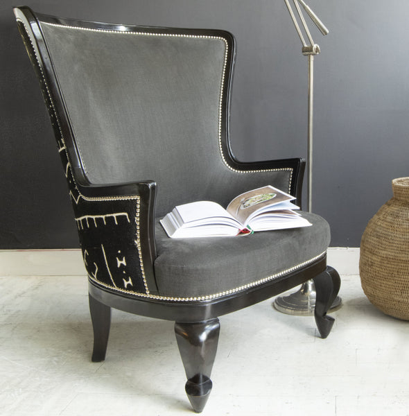 Portobello Queen Anne Armchair with brass lamp and book