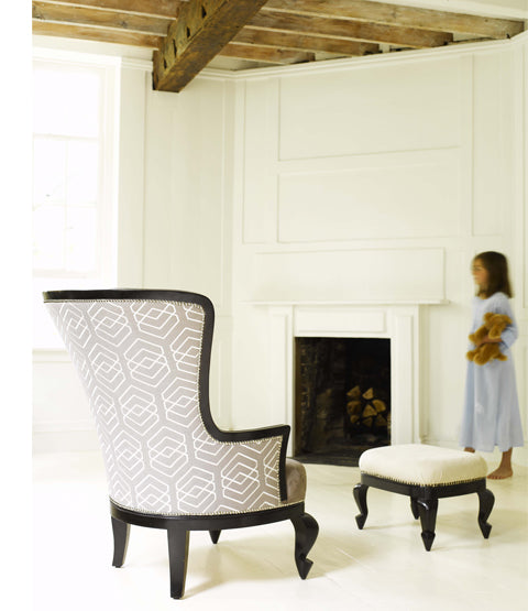 Portobello Queen Anne Armchair From back with girl and footstool