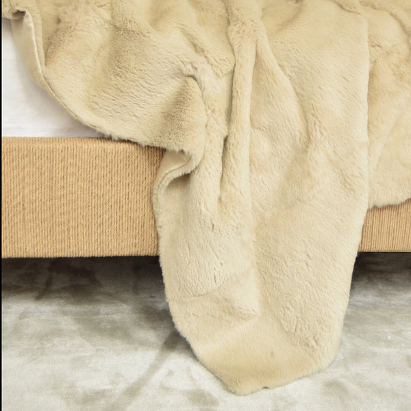 Rabbit Fur and Raw Silk Throw on Bed