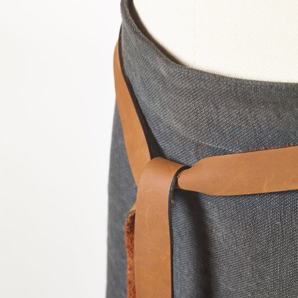 Linen Apron with Leather Detail