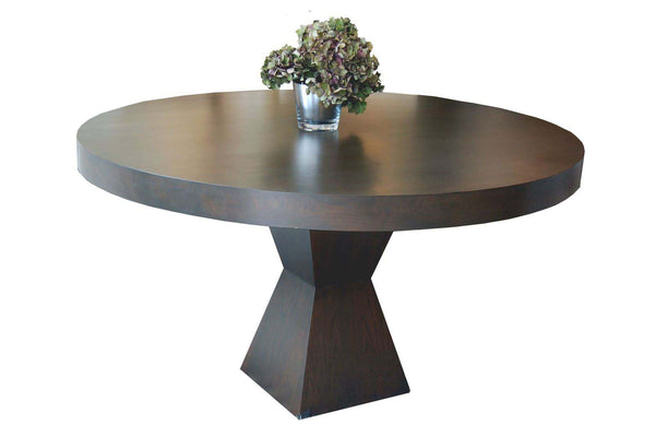 Shikari Wood Round table with flowers
