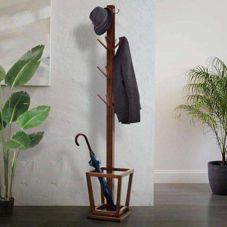 Shikari Coat and Umbrella stand with jacket hat and umbrella
