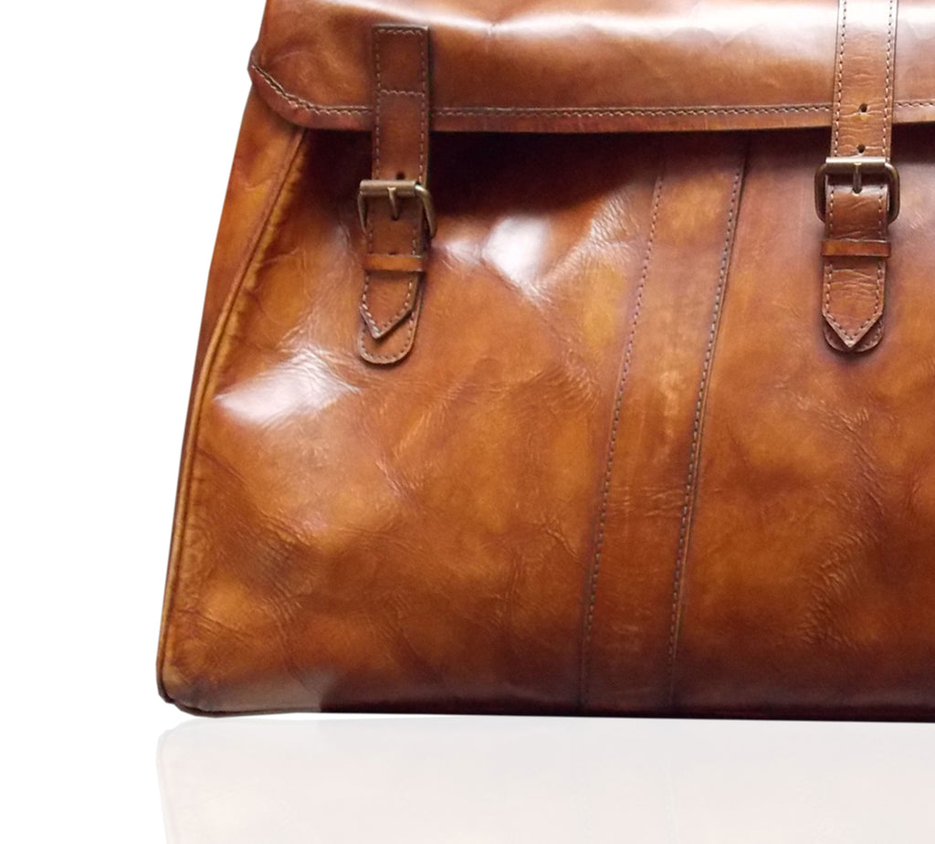 Havana Leather Hold All Bag close up