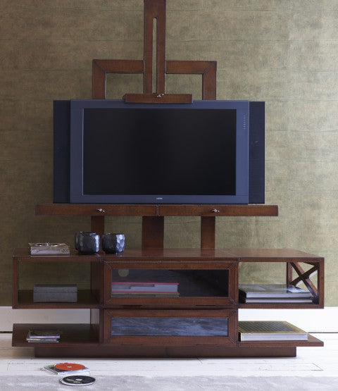 Havana Leather TV Easel with decor