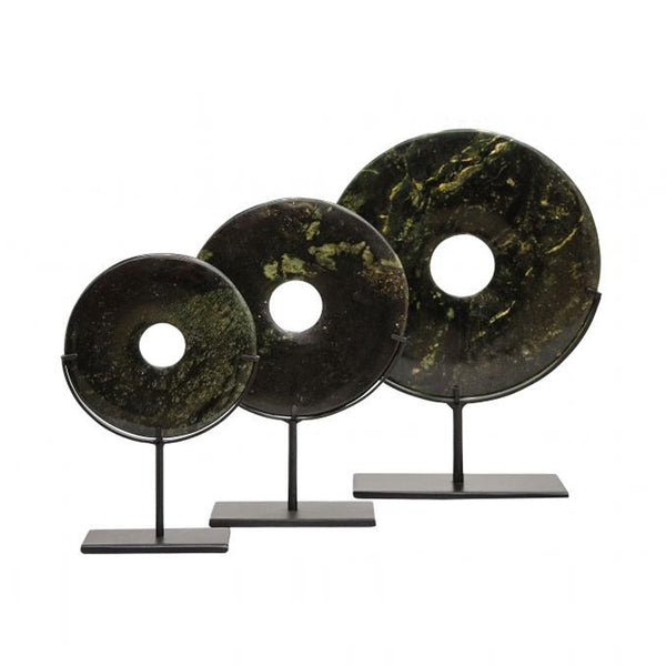 Yubi Decorative Green Marble Disks set of three