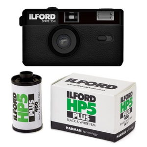 Ilford Sprite 35-II Black Reusable Film Camera  + HP5 24EXP Roll