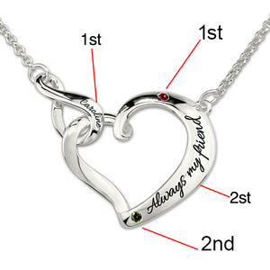 Infinity Love Heart Necklace With Birthstones Platinum Plated