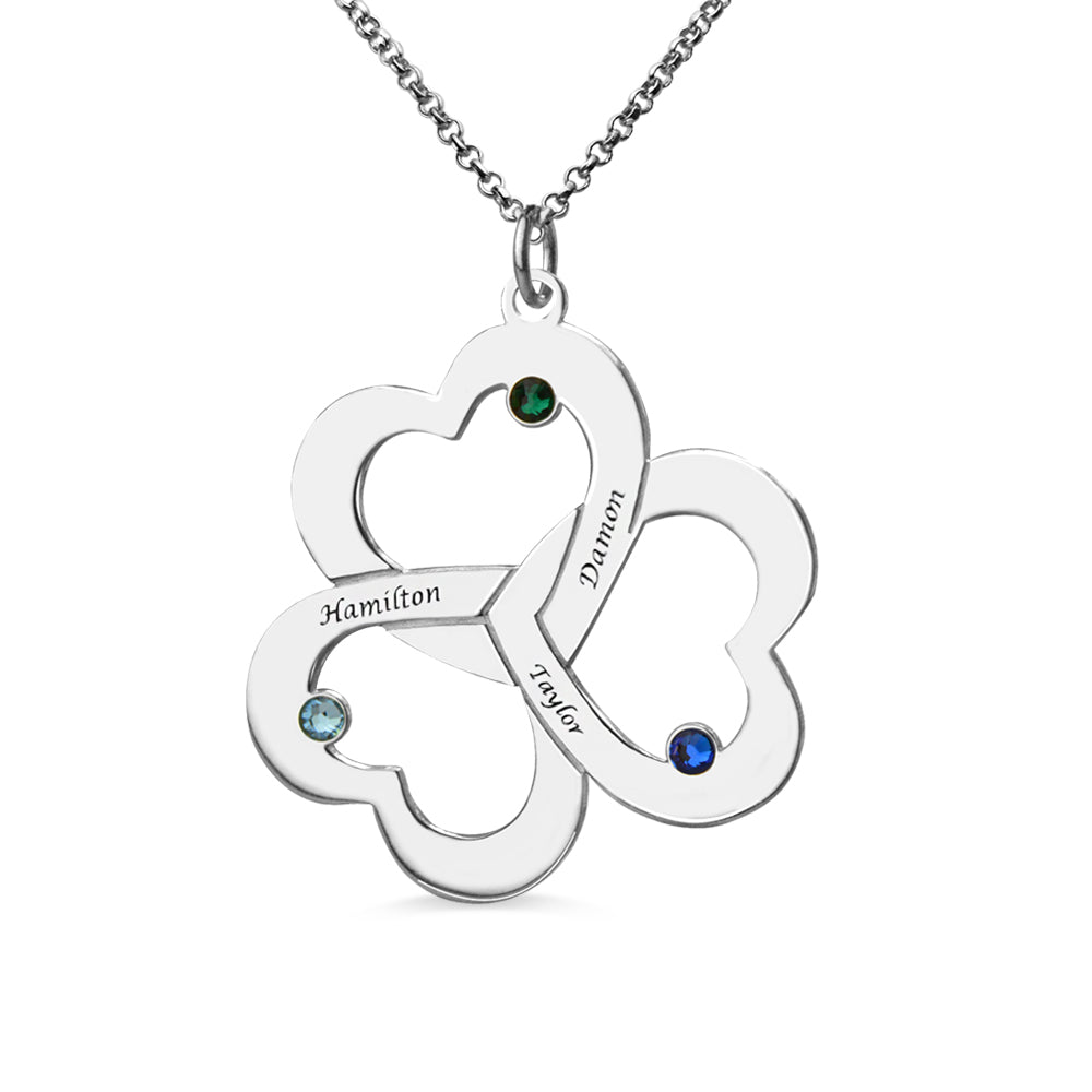 Personalized Triple-Heart Shamrocks Necklace with Names