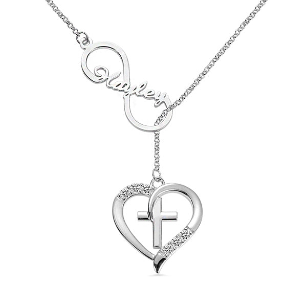 Personalized Infinity & Heart Cross Name Necklace