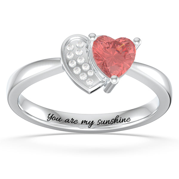 Personalized Heart in Heart Promise Ring with Birthstone in Rose Gold