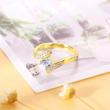 Load image into Gallery viewer, Engraved Princess-Cut Birthstone Ring Gold