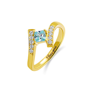 Engraved Princess-Cut Birthstone Ring Gold