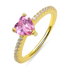 Load image into Gallery viewer, Personalized Heart Birthstone Promise Ring for Women in Gold
