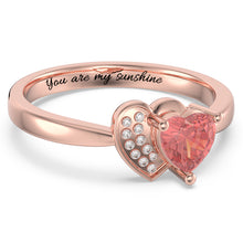 Load image into Gallery viewer, Personalized Heart in Heart Promise Ring with Birthstone in Rose Gold