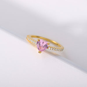 Personalized Heart Birthstone Promise Ring for Women in Gold