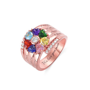 Personalized 7 Heart Birthstone Ring in Sterling Silver
