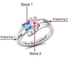 Load image into Gallery viewer, Custom Engraved Two Birthstones Ring Sterling Silver