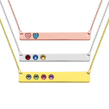 Load image into Gallery viewer, Personalized Heart and Round Birthstone Bar Necklace